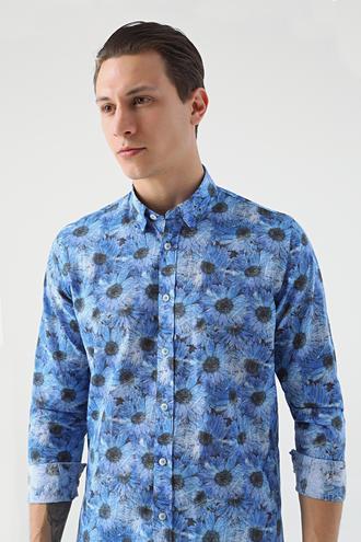 Tween Slim Fit Lacivert Desenli Baskılı Gömlek - 8681649468240   D'S Damat