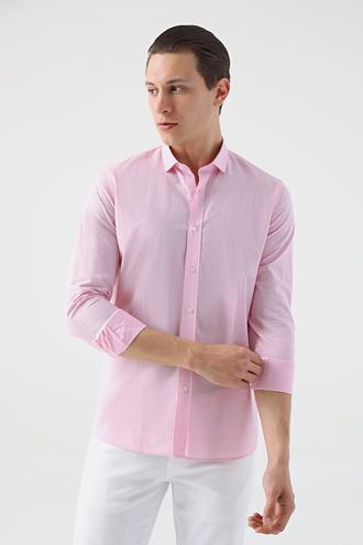 Tween Slim Fit Pembe Desenli Gömlek - 8681649697282 | Damat Tween