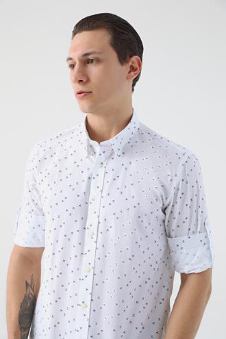 Tween Slim Fit Beyaz Desenli Gömlek - 8682364816750 | Damat Tween