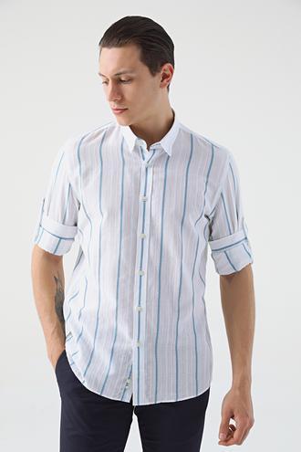 Tween Slim Fit Beyaz Çizgili Gömlek - 8682364493692 | Damat Tween