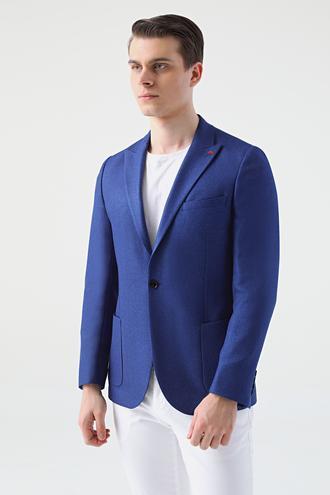 Twn Slim Fit Saks Mavi Armürlü Kumaş Ceket - 8682445182729 | D'S Damat