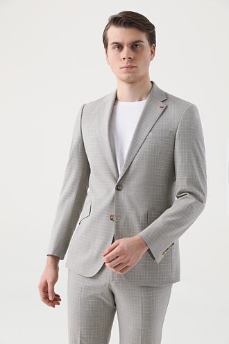 Ds Damat Slim Fit Bej Armürlü Takım Elbise - 8681779864066 | D'S Damat