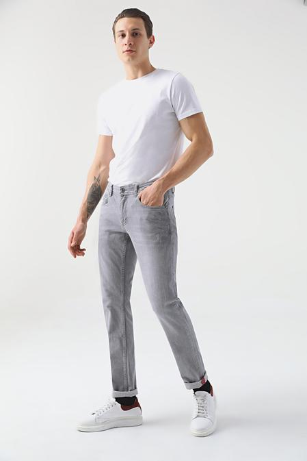 Tween Super Slim Fit Gri Denım Pantolon - 8681649460435   Damat Tween