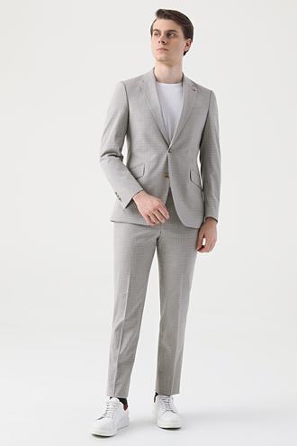 Ds Damat Slim Fit Slim Fit Bej Armürlü Takım Elbise - 8681779385875 | D'S Damat