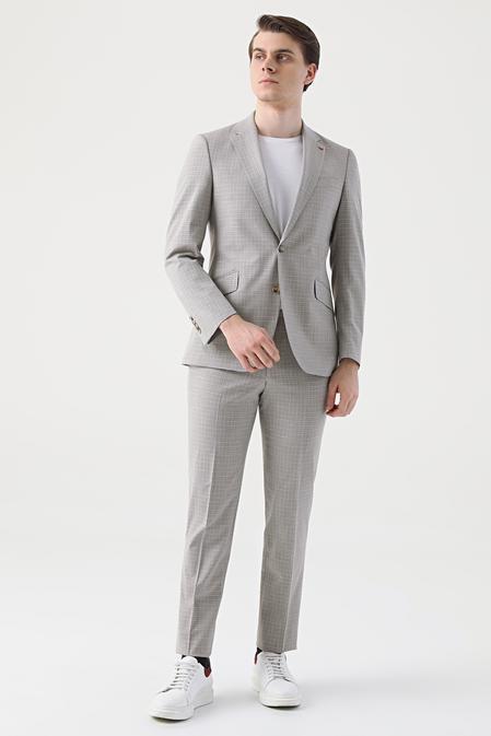 Ds Damat Slim Fit Bej Armürlü Takım Elbise - 8681779385875 | D'S Damat