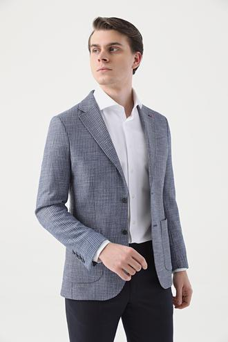 Ds Damat Slim Fit Mavi Düz Kumaş Ceket - 8682060927804 | D'S Damat