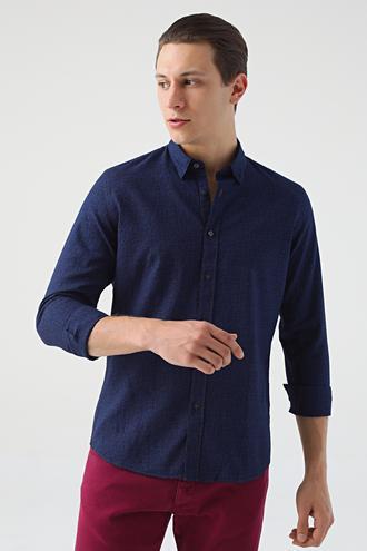 Tween Slim Fit Lacivert Desenli Gömlek - 8681649277286 | D'S Damat
