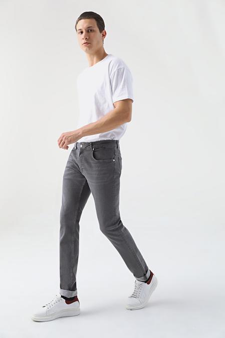 Damat Slim Fit Gri Denim Pantolon - 8682364588657 | Damat Tween