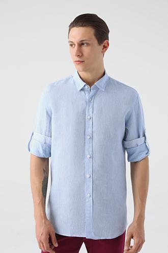 Tween Slim Fit Mavi Düz Gömlek - 8682364493951 | Damat Tween