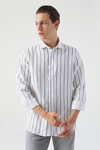 Damat Slim Fit Beyaz Çizgili Gömlek - 8682364813872 | Damat Tween