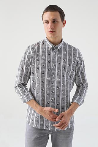 Tween Slim Fit Beyaz Baskılı Gömlek - 8682364816538 | Damat Tween