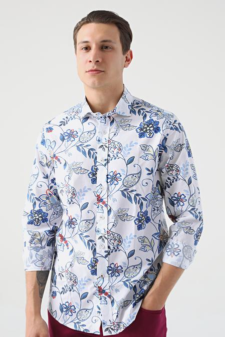 Damat Slim Fit Beyaz Baskılı Gömlek - 8682364482757 | Damat Tween