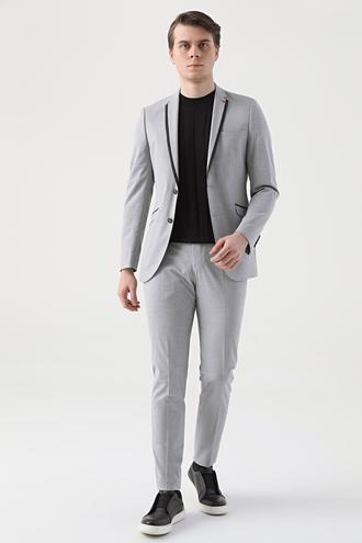 Twn Slim Fit Gri Düz Takım Elbise - 8681779102649 | D'S Damat