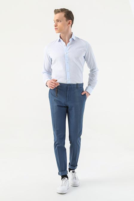 Tween Slim Fit Lacivert Düz Chino Pantolon - 8681649372554 | D'S Damat