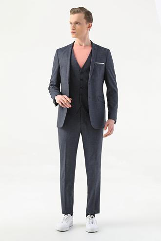 Tween Slim Fit Lacivert Yelekli Takım Elbise - 8682364637676   Damat Tween
