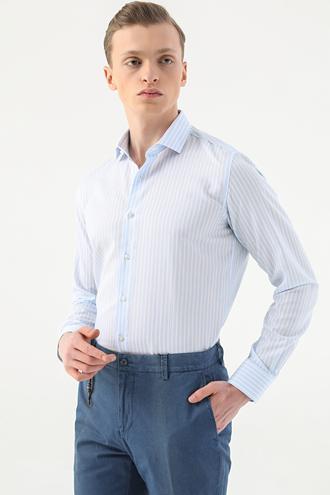 Tween Slim Fit Mavi Çizgili Gömlek - 8682364500154 | Damat Tween
