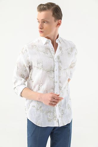 Damat Comfort Haki Nakışlı Gömlek - 8682364482115 | Damat Tween