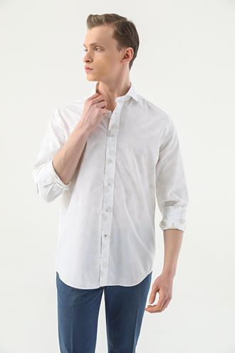 Damat Slim Fit Beyaz Desenli Gömlek - 8682364483570 | Damat Tween
