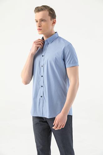 Tween Slim Fit Mavi Desenli Gömlek - 8682364493364 | Damat Tween