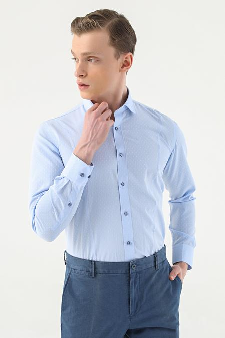 Tween Slim Fit Mavi Desenli Gömlek - 8681649456391 | D'S Damat