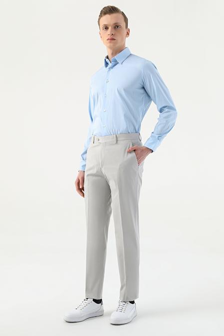 Damat Slim Fit Taş Düz Kumaş Pantolon - 8681649565833   D'S Damat