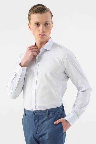 Tween Slim Fit Beyaz Çizgili Gömlek - 8682364660629 | Damat Tween