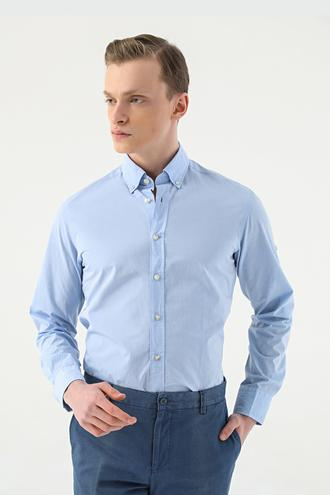 Damat Slim Fit Mavi Düz Yaka İğneli Gömlek - 8682364482955 | Damat Tween