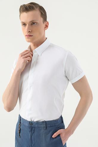 Tween Slim Fit Beyaz Düz Gömlek - 8682364783557 | Damat Tween