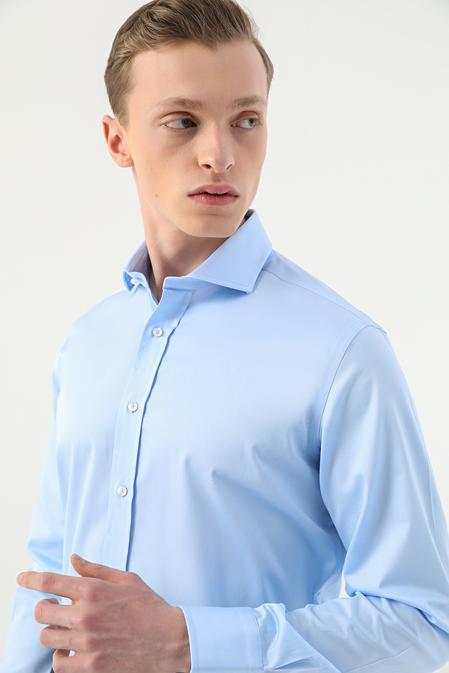 Damat Comfort Mavi Düz Nano Care Gömlek - 8682364628995   Damat Tween