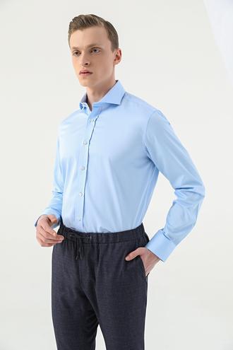 Damat Comfort Mavi Düz Gömlek - 8682364586202 | Damat Tween