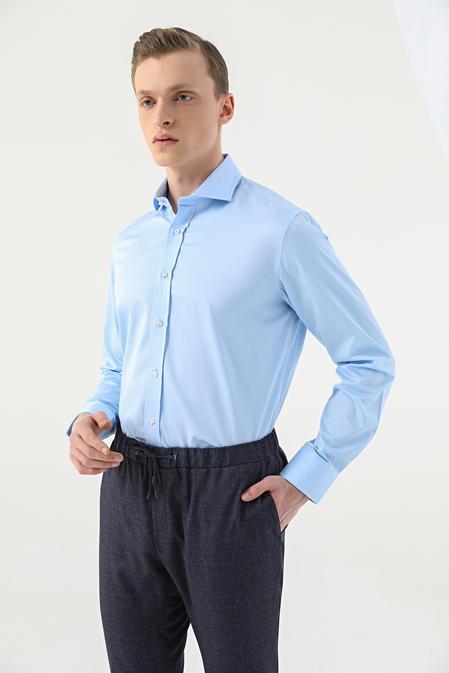 Damat Comfort Mavi Düz Gömlek - 8682364586202   Damat Tween