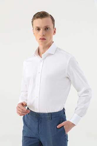 Damat Comfort Beyaz Düz Gömlek - 8682364586240 | Damat Tween