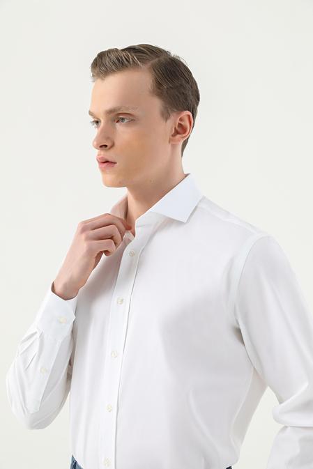 Damat Comfort Beyaz Düz Nano Care Gömlek - 8682364509188   Damat Tween