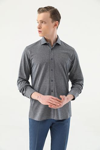 Tween Slim Fit Lacivert Örme Gömlek - 8682364660278 | Damat Tween