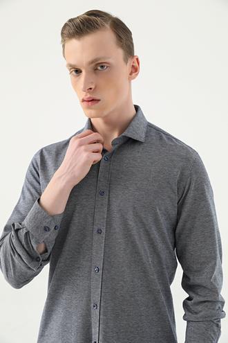 Tween Slim Fit Lacivert Örme Gömlek - 8682364503681 | Damat Tween