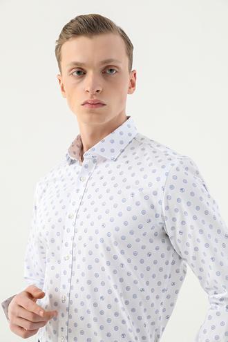 Tween Slim Fit Beyaz Baskılı Gömlek - 8682364500277 | Damat Tween