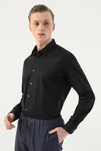 Tween Slim Fit Siyah Düz Gömlek - 8682364568482 | Damat Tween