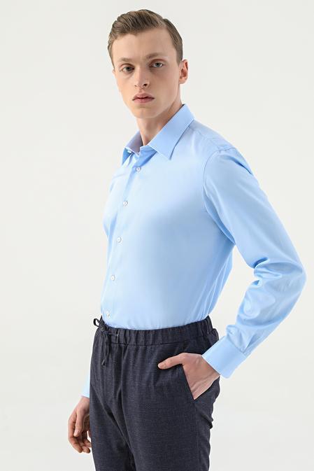 Damat Slim Fit Mavi Gömlek - 8682364582952   Damat Tween