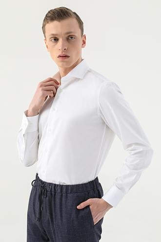 Damat Slim Fit Beyaz Düz Gömlek - 8681649263487 | D'S Damat
