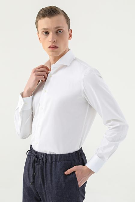 Damat Slim Fit Beyaz Düz Travel Gömlek - 8681649263487   D'S Damat