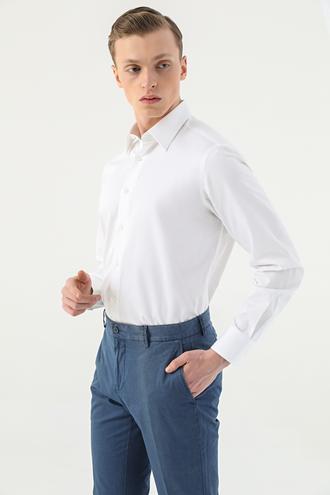 Damat Comfort Beyaz Düz Gömlek - 8681649263555 | D'S Damat