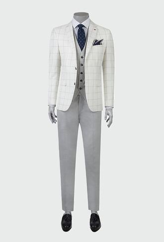 Twn Süper Slim Fit Beyaz Kareli Kombinli Takım Elbise - 8681778087671   D'S Damat