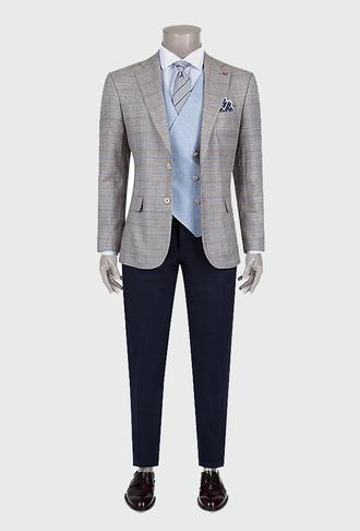 Ds Damat Slim Fit Bej Ekoseli Kombinli Takım Elbise - 8681778224274   D'S Damat