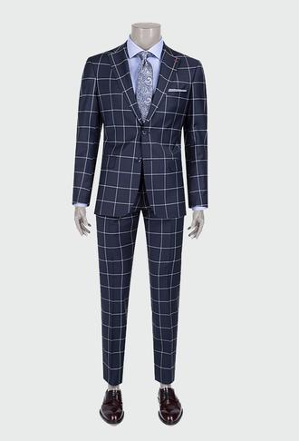 Ds Damat Slim Fit Slim Fit Lacivert Ekoseli Takım Elbise - 8681778108109 | D'S Damat