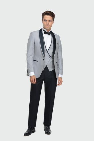 Ds Damat Slim Fit Gri Jakar Desenli Smokin Yelekli Takım Elbise - 8682445245516 | D'S Damat