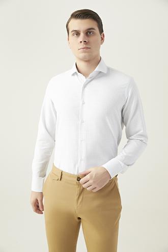 Ds Damat Slim Fit Beyaz Kareli Gömlek - 8682445083415   D'S Damat