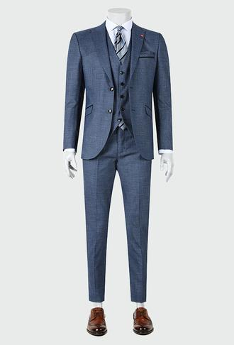 Twn Slim Fit Lacivert Düz Yelekli Takım Elbise - 8681779874362 | D'S Damat