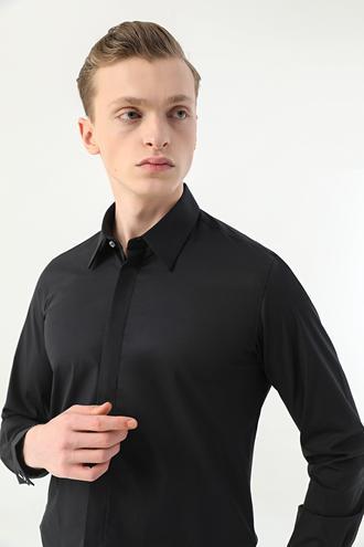 Tween Slim Fit Siyah Düz Gömlek - 8682364726493 | Damat Tween