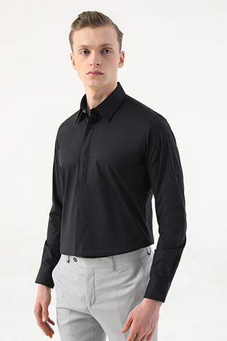 Tween Slim Fit Siyah Düz Nano Care Gömlek - 8682364568239   Damat Tween