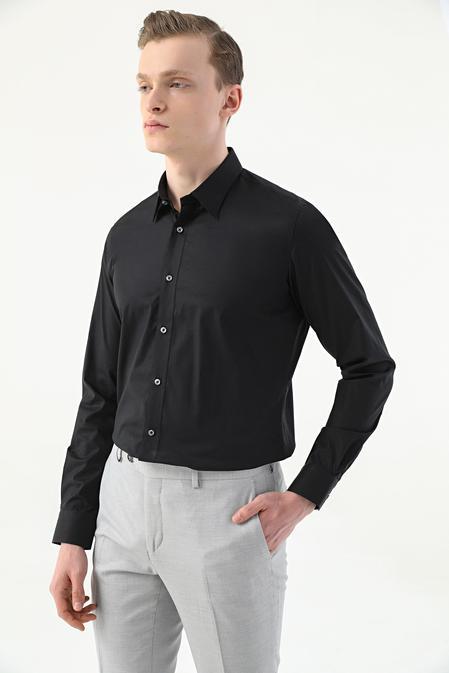 Tween Slim Fit Siyah Düz Easy Care Gömlek - 8681649979425 | Damat Tween